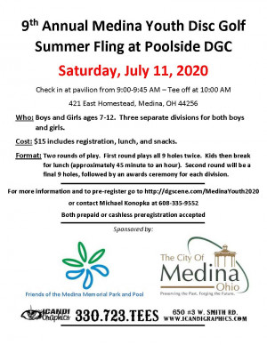 9th Annual Medina Youth Disc Golf Summer Fling graphic