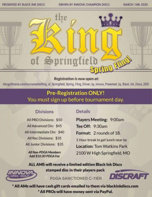 King of Springfield, Spring Fling! Driven by Innova, Presented by Black Ink Discs graphic