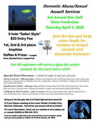 3rd Annual Glow Golf Fundraiser for DASAS (Domestic Abuse/Sexual Assault Services) graphic
