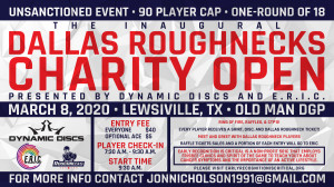 The Inaugural Dallas Roughnecks Charity Open Presented by Dynamic Discs and E.R.I.C. graphic