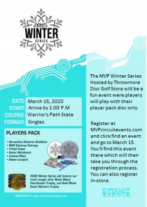 MVP Winter Series at Warrior's Path Disc Golf Course Hosted by Throwmore Disc Golf Store graphic