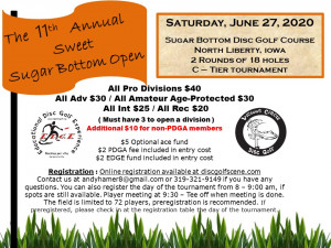 The 11th Annual Sweet Sugar Bottom Open by Vicious Circle Disc Golf and Friends of Coralville Lake graphic