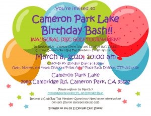 Cameron Park Lake Birthday Bash Tournament graphic