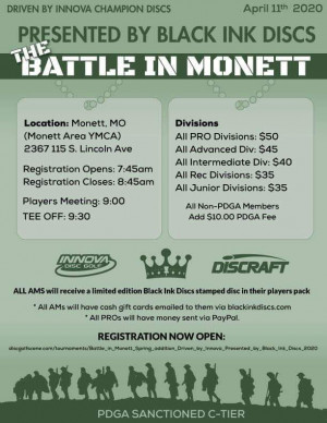 Battle in Monett, Spring addition! Driven by Innova, Presented by Black Ink Discs graphic