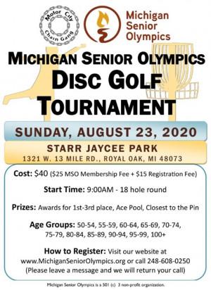 6th Annual Michigan Senior Olympics Disc Golf Tournament graphic