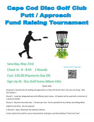 Cape Cod Disc Golf Club Putter & Approach Fund Raising Tournament graphic