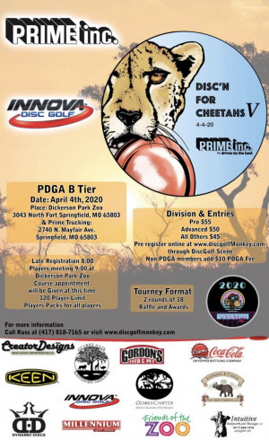 Disc'n for Cheetahs V Sponsored by Prime Trucking graphic
