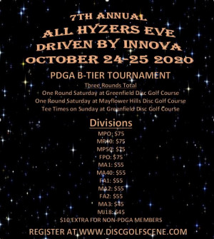 7th Annual All Hyzers Eve, Driven by Innova, Presented by Roanoke Disc Golf graphic