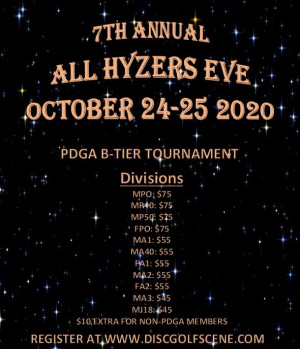 7th Annual All Hyzers Eve Presented by Roanoke Disc Golf graphic