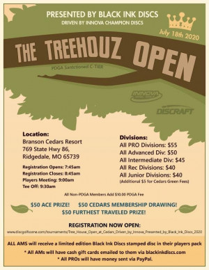 TreeHouz Open at Cedars, Driven by Innova, Presented by Black Ink Discs graphic