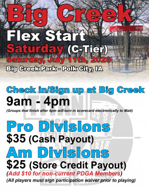 Big Creek Flex Start Saturday graphic