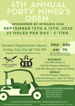 4th Annual Forty Niner Open Sponsored by Dynamic Discs and Farmers Insurance graphic