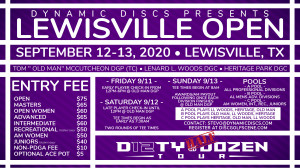 "Dynamic Discs Presents the Lewisville Open in Memory of Tom ""Old Man"" McCutcheon graphic"