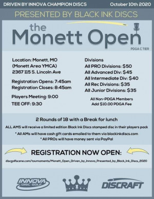 Monett Open, Driven by Innova, Presented by Black Ink Discs graphic