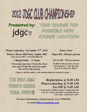 2012 JDGC Club Championship graphic
