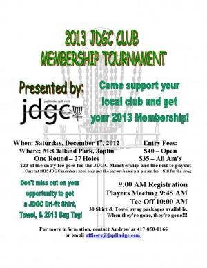 2013 JDGC Membership Tournament graphic