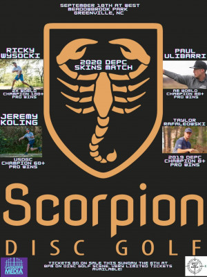 Scorpion Disc Golf Present 2020 DEPC Skins Match graphic