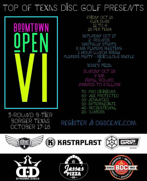 Top of Texas Disc Golf Presents: Boomtown Open VI graphic
