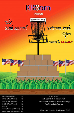 KR8om presents The 30th Veterans Park Open Powered by Legacy Discs Am Weekend graphic