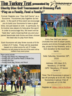 "The Turkey Trot presented by Prodigy Discs- ""Play as a family, feed a family!"" graphic"