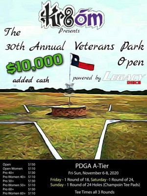 KR8om presents The 30th Veterans Park Open Powered by Legacy Discs Pro Weekend graphic