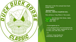 Duck Duck Goose classic sponsored by Innova Discs and 208 Discs graphic