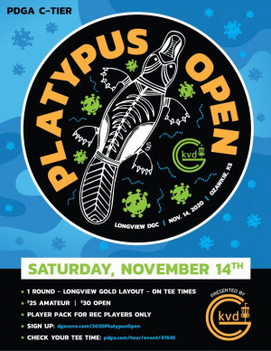 Platypus Open, a Kaw Valley Disc Golf Club event graphic