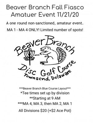 Beaver Branch Fall Fiasco Amateur Event sponsored by Dynamic Discs graphic