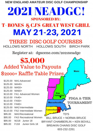 New England Amateur Disc Golf Championship Sponsored by T-BONES & CJ's Great West Grill graphic