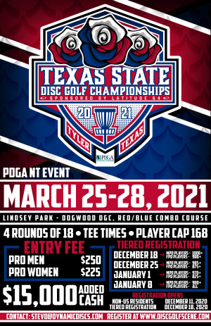 The 26th Annual Texas State Disc Golf Championships Presented by Latitude 64 graphic