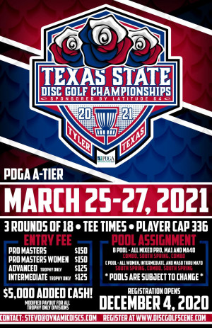 The 26th Annual Texas State Disc Golf Championships Presented by Latitude 64 - A GDG $5K/$10K event graphic