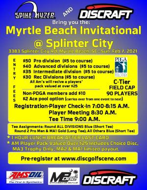 Discraft Presents: Spike Hyzer's: Myrtle Beach Invitational @ Splinter City graphic