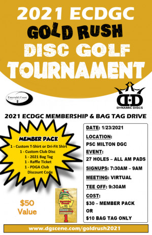 2021 Emerald Coast Disc Golf Club Gold Rush graphic