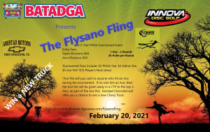 BATADGA presents The Flysano Fling driven by Innova Champion DIscs graphic
