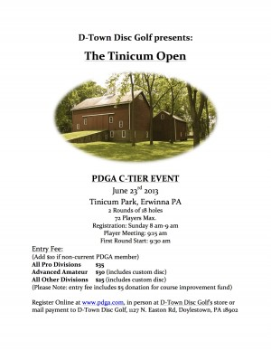D-Town Disc Golf presents The Tinicum Open graphic