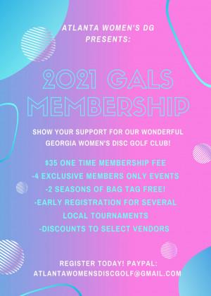 2021 GaLS (Atlanta Women's Disc Golf) Membership graphic