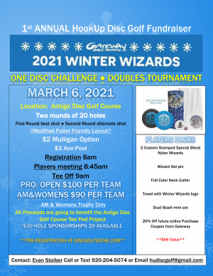 1st Annual HookUp Disc Golf Fundraiser Winter Wizards 2021 graphic