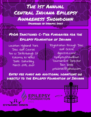 1st Annual Central Indiana Epilepsy Awareness Showdown sponsored by Dynamic Discs graphic