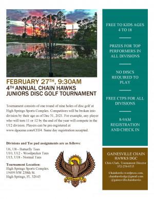 4th Annual Chain Hawks Junior Disc Golf Tournament graphic