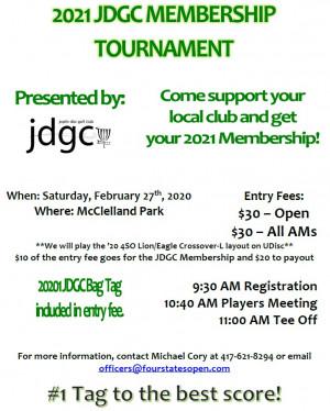 2021 JDGC Membership Tournament graphic
