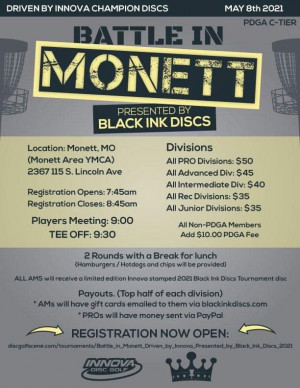 Battle in Monett, Driven by Innova, Presented by Black Ink Discs graphic