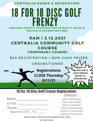 18 for 18 Disc Golf Frenzy graphic