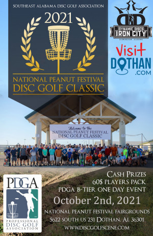2021 National Peanut Festival Disc Golf Classic Sponsored by Dynamic Discs Iron City and Visit Dothan graphic