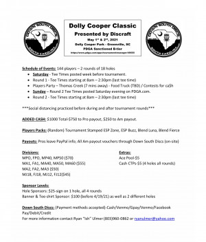 Dolly Cooper Classic presented by Discraft graphic