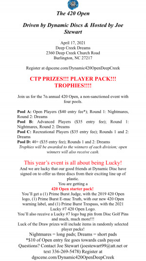 The 420 Open #7 at Deep Creek Driven by Dynamic Disc & hosted by Joe Stewart graphic