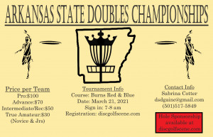 Arkansas State Doubles Championships presented by Diamond State Disc Golf graphic