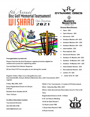 8th Annual Wishard Memorial Disc Golf Tournament Presented by Dynamic Discs graphic