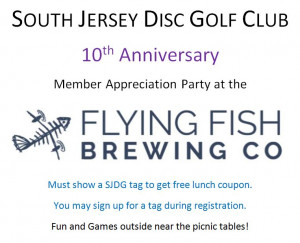 SJDG 10th Anniversary Appreciation at Flying Fish Brewery graphic