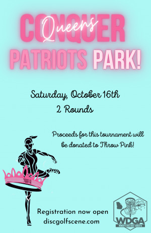 Queens Conquer Patriots Park-a Throw Pink Event graphic
