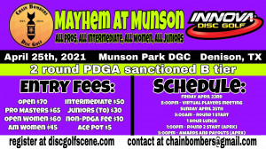 CB Mayhem at Munson Driven by Innova - All Pros, All Intermediate, All Women and All Juniors graphic